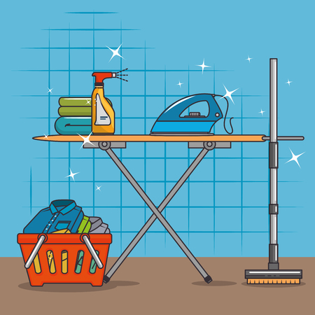 laundry basket and ironing board icon vector illustration graphic design Illustration