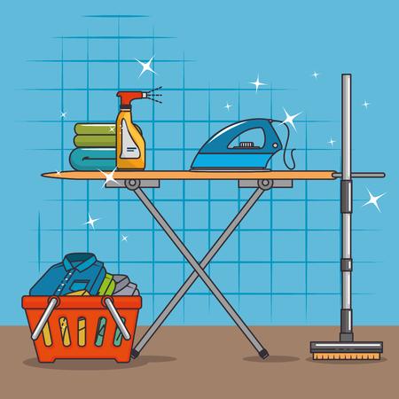 wasmand en strijkplank pictogram vector illustratie grafisch ontwerp Stock Illustratie
