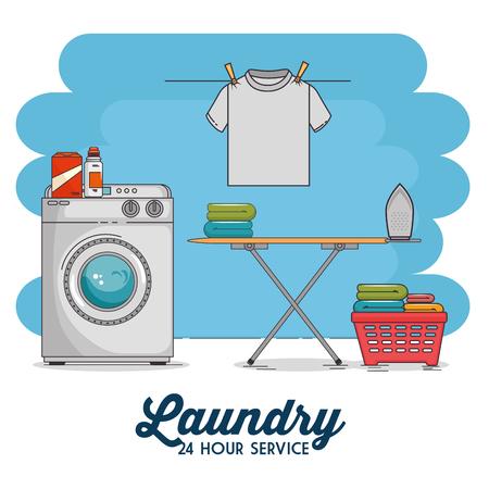 wasruimte met wasmachine en kleding vector illustratie grafisch ontwerp Stock Illustratie