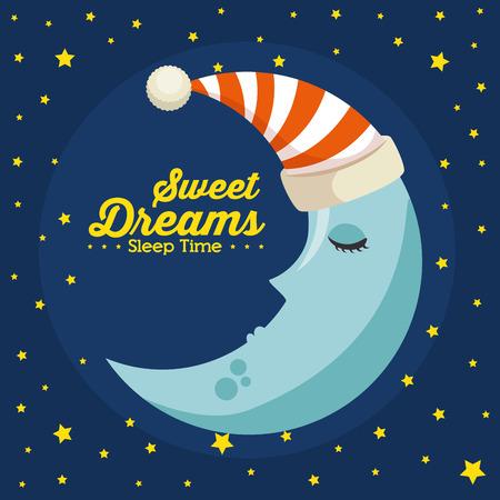 달콤한 꿈 자면서 시간 개념 벡터 일러스트 그래픽 디자인
