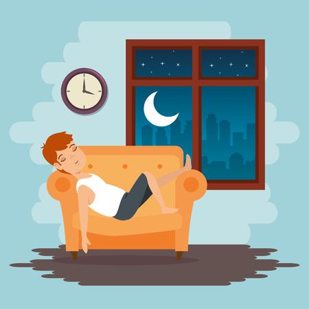 Dulces sueños durmiendo concepto de tiempo ilustración vectorial diseño gráfico Foto de archivo - 83677721