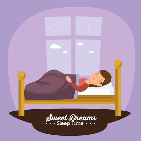 dulces sueños durmiendo concepto de tiempo ilustración vectorial diseño gráfico