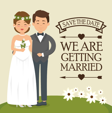 we are getting married card vector illustration graphic design Stock fotó - 83677773