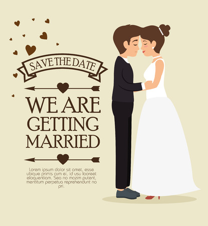 we are getting married card vector illustration graphic design