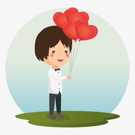 Herz rote Ballons Symbol Vektor Illustration Grafikdesign Standard-Bild - 83810635
