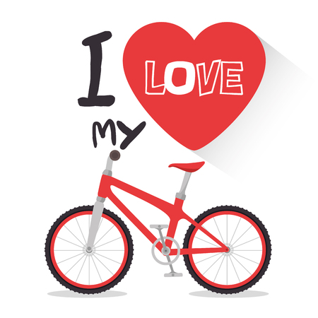 I love my bike label template vector illustration graphic design