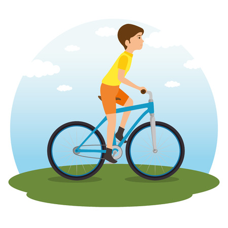people riding bycicle vector illustration graphic design Illustration