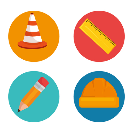 under construction icon set vector illustration graphic design