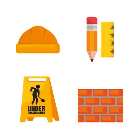 Under construction icon set vector illustration graphic design Vetores