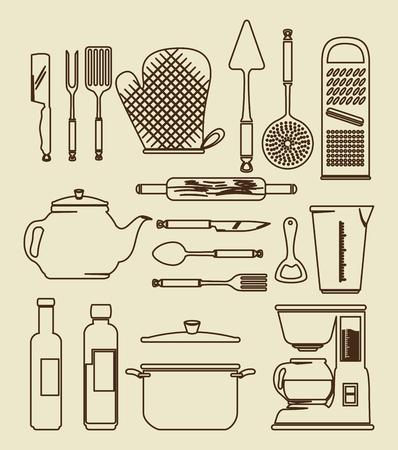 주방 용품 빈티지 아이콘 세트 벡터 일러스트 그래픽 디자인