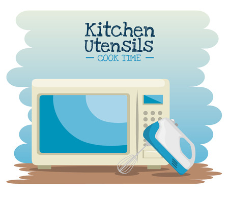 steel plate: cooking time concept kitchen utensils vector illustration graphic design