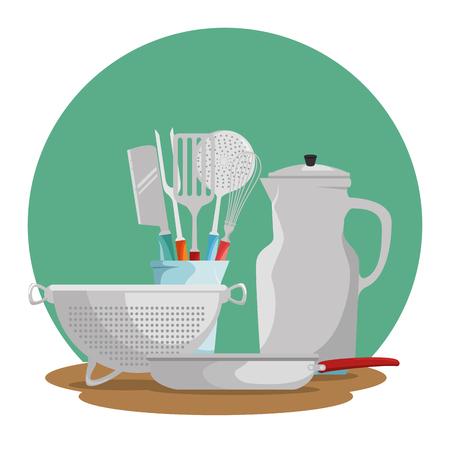 요리 시간 개념 부엌기구 벡터 일러스트 그래픽 디자인 일러스트