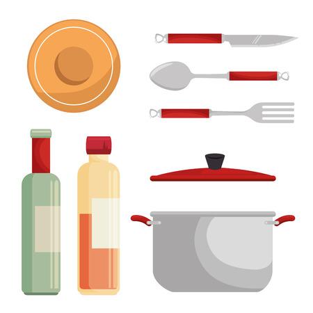 Icono de utensilios de cocina conjunto de ilustración vectorial diseño gráfico Foto de archivo - 83671190