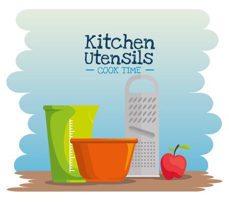 cooking time concept kitchen utensils vector illustration graphic design