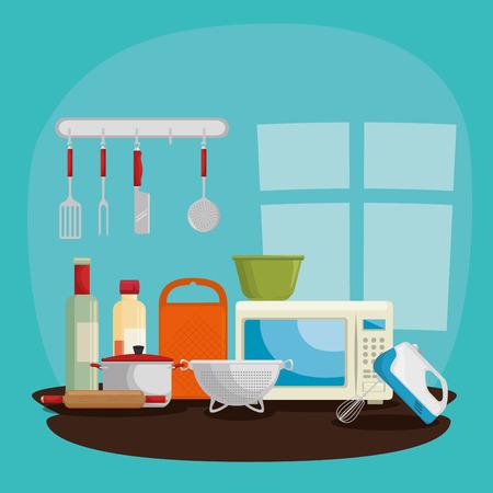 cooking time concept kitchen utensils vector illustration graphic design