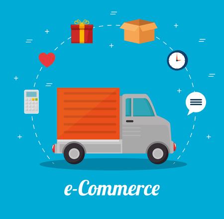 electronic commerce: E-commerce online shopping concept vector illustration