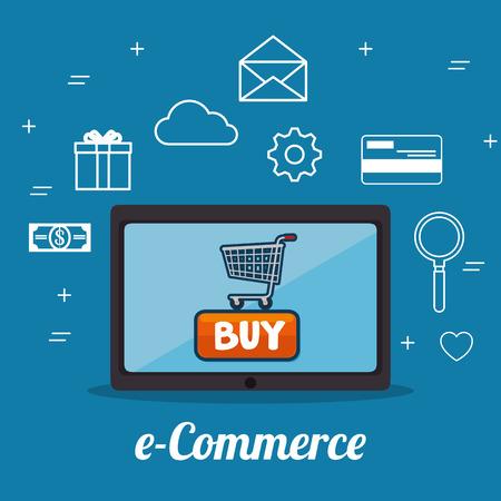 electronic commerce: E-commerce concept online shopping infographic vector illustration graphic design Illustration
