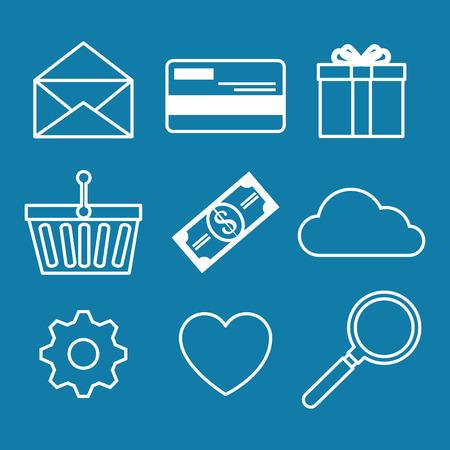 gift basket: E-commerce icon set vector illustration graphic design