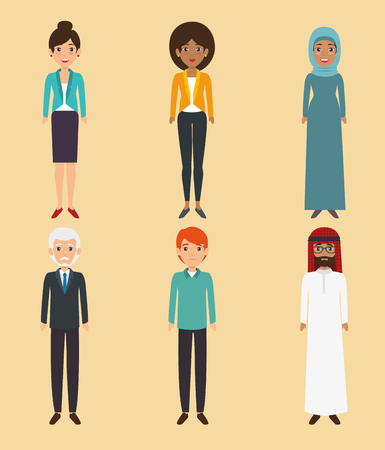 多様性人アイコン セット ベクトル イラスト グラフィック デザイン  イラスト・ベクター素材