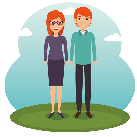 Diversity couple standing vector illustration graphic design Ilustrace