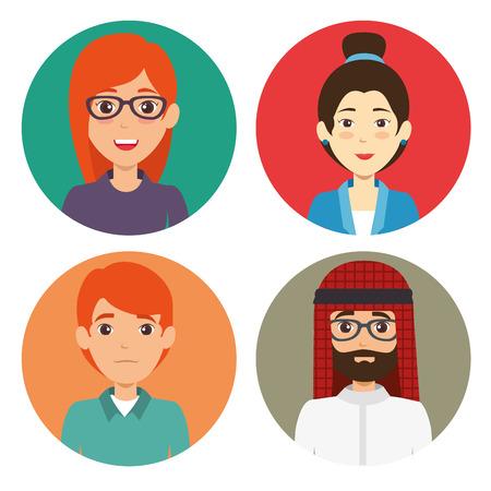 Diversity people icon set vector illustration
