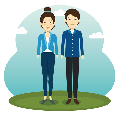 Asian couple standing vector illustration Illustration