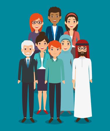 국제 비즈니스 팀 다양성 사람들이 개념 아이콘.