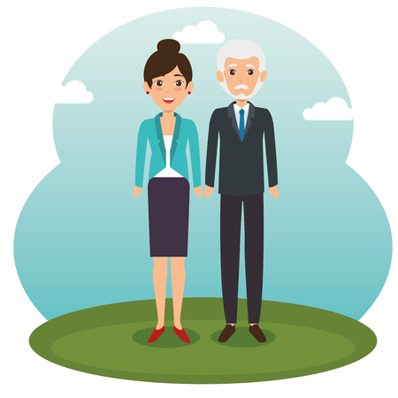 diversity couple standing vector illustration graphic design
