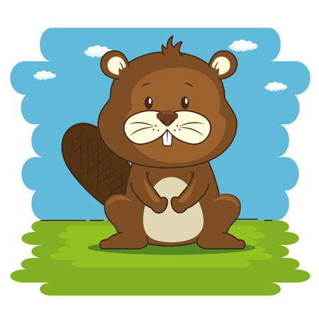 cute adorable beaver animal cartoon vector illustration graphic design