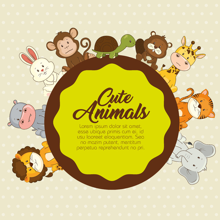cute animals baby shower card vector illustration graphic design Фото со стока - 83663984