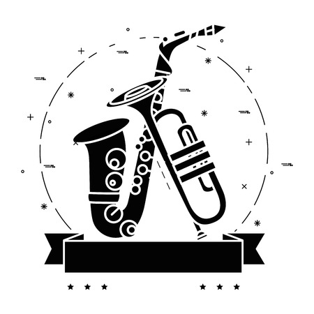 Trumpet and saxophone icon over white background vector illustration.