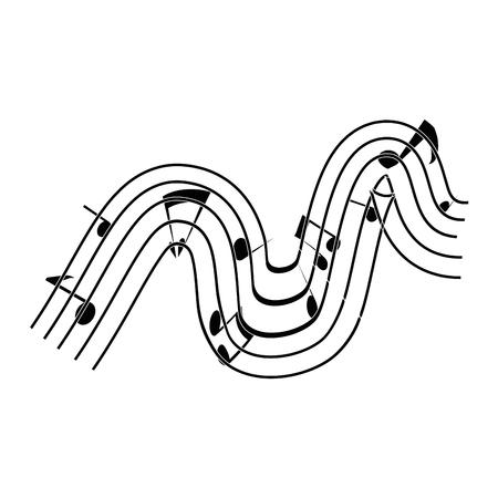 Pentagram con el icono de notas musicales sobre ilustración de vector de fondo blanco