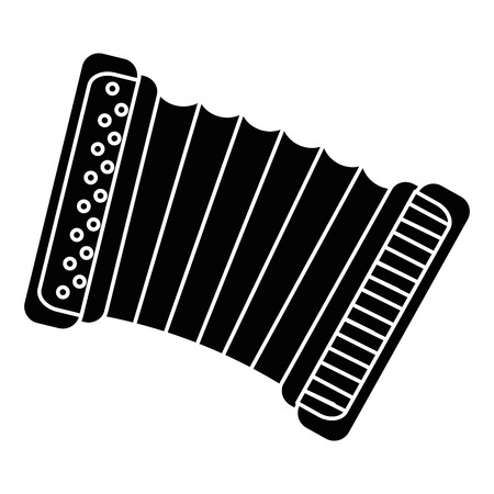Accordion instrument icon over white background vector illustration