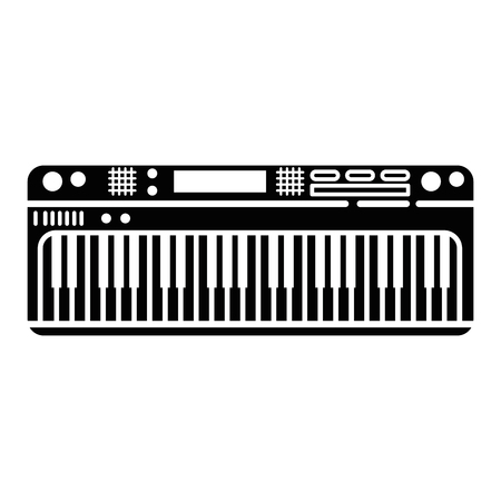 Piano instrument icon over white background vector illustration