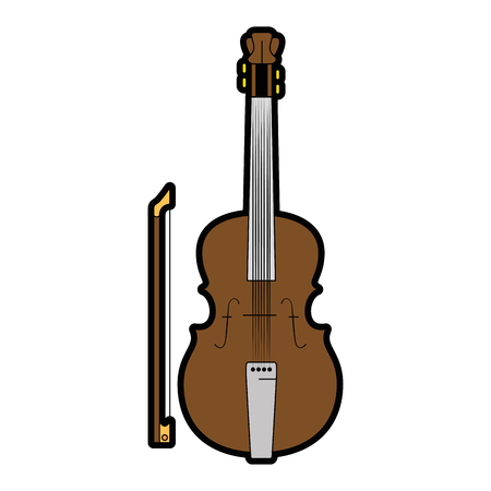 Fiddle instrument icon over white background vector illustration Illusztráció