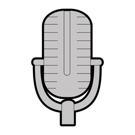 Retro microphone icon over white background vector illustration