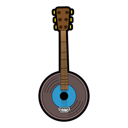 Banjo instrument icon over white background vector illustration Stock Vector - 83672785