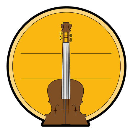 Decorative circular frame with fiddle instrument  over white background vector illustration