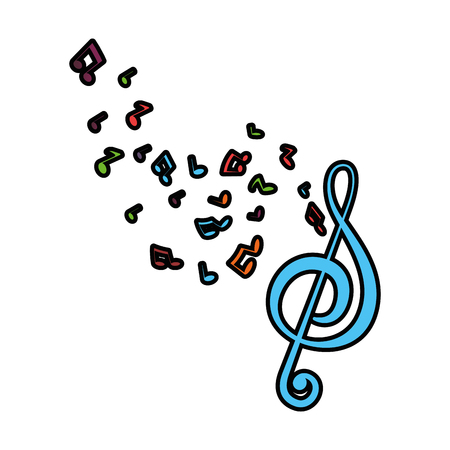 musical notes icon over white background vector illustration