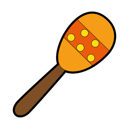 maraca instrument icon over white background vector illustration