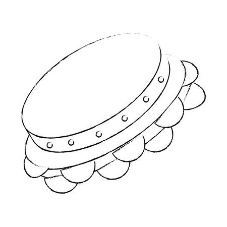 Het pictogram van het tamboerijninstrument over witte vectorillustratie als achtergrond