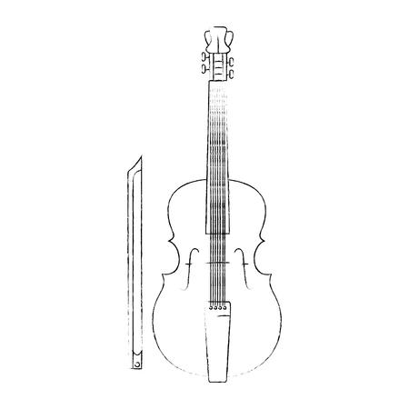흰색 배경 벡터 일러스트 레이 션을 통해 바이올린 악기 아이콘