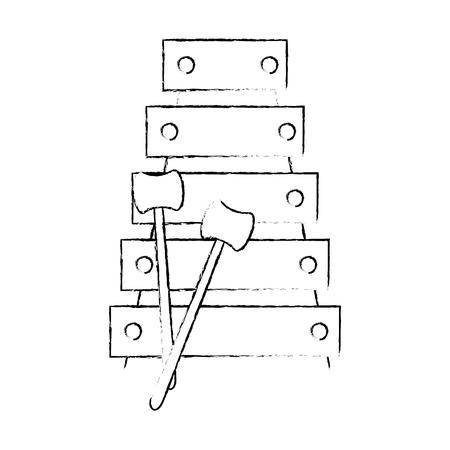 Icona del logo xilofono su sfondo bianco illustrazione vettoriale