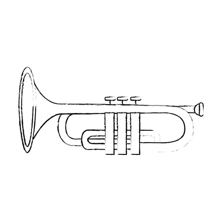 Trumpet instrument icon over white background vector illustration