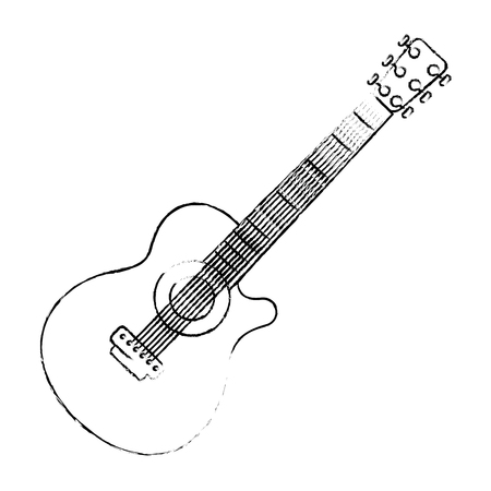 Guitar instrument icon over white background vector illustration