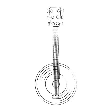 banjo instrument icon over white background vector illustration