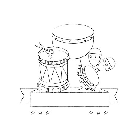 decorative ribbon with drums and maracas icon over white background vector illustration