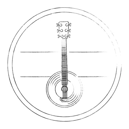 decorative frame in circle shape with banjo instrument icon over white background vector illustration