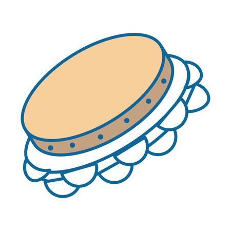 tamboerijn instrument pictogram over witte achtergrond vectorillustratie Stock Illustratie