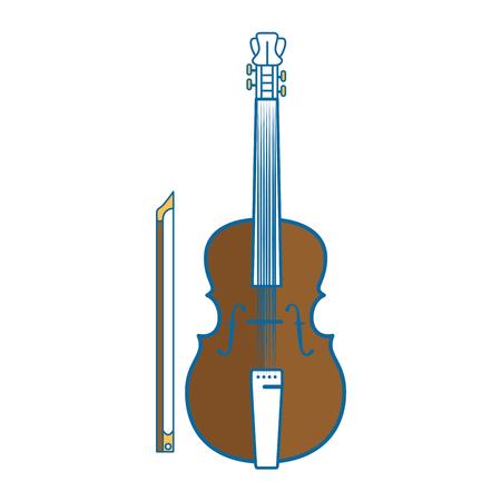 바이올린 악기 아이콘 위에 흰색 배경 벡터 일러스트 레이 션
